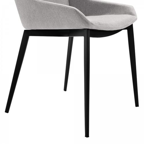 Armen Living Kenna Contemporary Dining Chair in Matte Black Finish and Gray Fabric - Set of 2