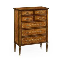 Burl & mother of pearl tall chest of drawers