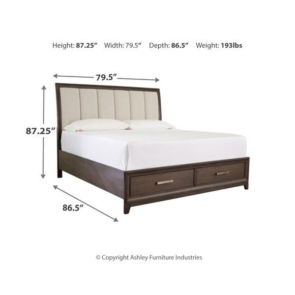 Brueban King Panel Bed With 2 Storage Drawers