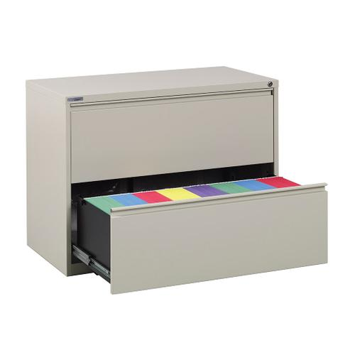 """36"""" Wide 2 Drawer Lateral File With Core-removeable Lock & Adjustable Glides"""