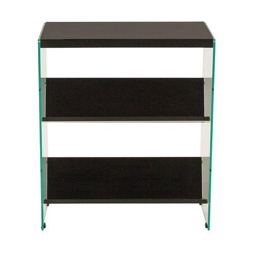 "Flash Furniture - Highwood Collection 3 Shelf 28""H Glass Frame Bookcase in Dark Ash Finish"