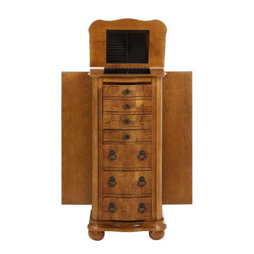 7-drawer Jewelry Armoire, Distressed Oak With White Ash Burl and Walnut Inlay