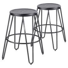 Avery Metal Counter Stool - Set Of 2 - Vintage Black Metal