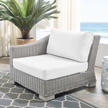 Conway Sunbrella® Outdoor Patio Wicker Rattan Left-Arm Chair in Light Gray White