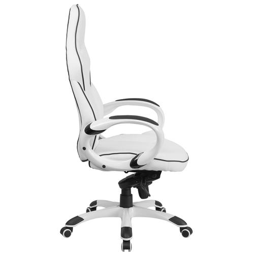 Gallery - High Back White Vinyl Executive Swivel Office Chair with Black Trim and Arms