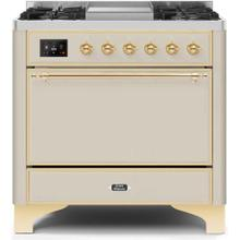 Majestic II 36 Inch Dual Fuel Liquid Propane Freestanding Range in Antique White with Brass Trim