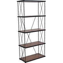 """Product Image - Vernon Hills Collection 4 Shelf 57""""H Chain Accent Metal Frame Bookcase in Antique Wood Grain Finish"""