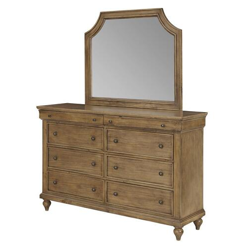Brussels 8 Drawer Dresser with Mirror, Brown