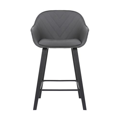 """Armen Living - Crimson 26"""" Counter Height Stool with Black Brushed Finish and Gray Faux Leather"""