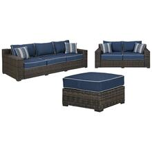 3-piece Outdoor Sofa and Loveseat With Ottoman