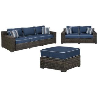 See Details - Outdoor Sofa, Loveseat and Ottoman