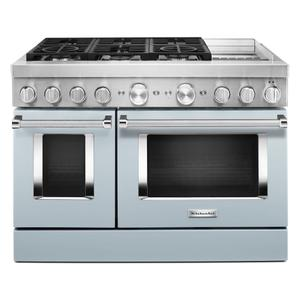 KitchenAid® 48'' Smart Commercial-Style Dual Fuel Range with Griddle - Misty Blue Product Image