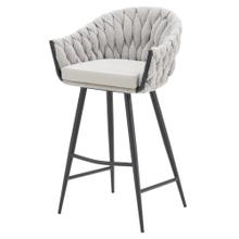 Fabian KD Fabric/ PU Bar Stool w/ Arms, Alpine Light Gray/ Fairfax Gray