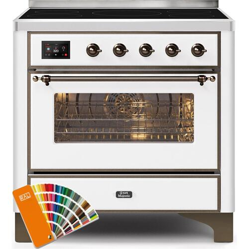 Majestic II 36 Inch Electric Freestanding Range in Custom RAL Color with Bronze Trim