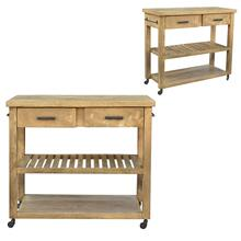 Bengal Manor Mango Wood 2 Drawer Wheeled Kitchen Island