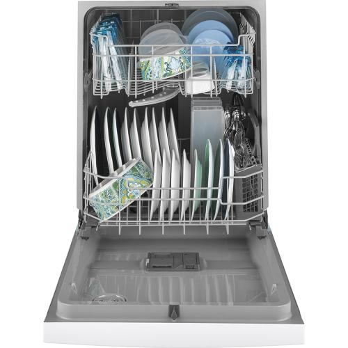 """GE 24"""" Built-In Front Control Dishwasher with Tall Tub White - GDF510PGMWW"""