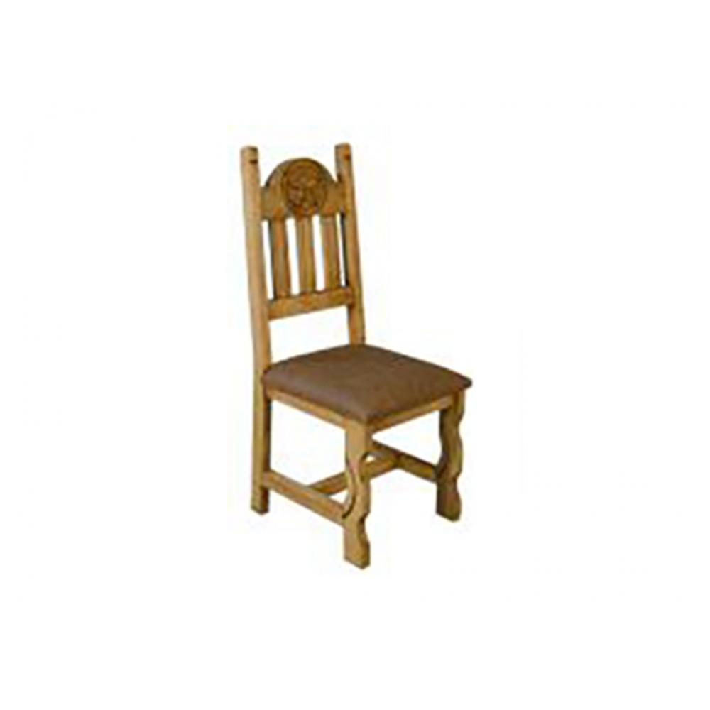 Rustic Chair with Upholstered Seat and Marble Star