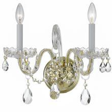 See Details - Traditional Crystal 2 Light Swarovski Strass Crystal Polished Brass Sconce