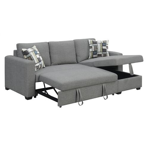 Emerald Home Langley 2 PC Reversible, Convertible Sectional With Storage and 2 Accent Pillows-fossil Gray-u4339-11-12-19-k