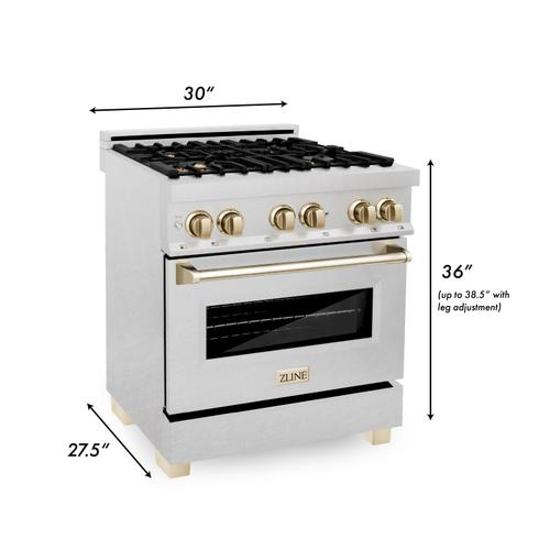 """Zline Kitchen and Bath - ZLINE Autograph Edition 30"""" 4.0 cu. ft. Dual Fuel Range with Gas Stove and Electric Oven in DuraSnow® Stainless Steel with Accents (RASZ-SN-30) [Accent: Champagne Bronze]"""