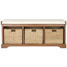 Lonan Wicker Storage Bench - Medium Walnut / White