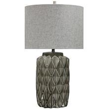 See Details - ALTON TABLE LAMP  Gray Finish on Ceramic Body  Hardback Shade  150 Watt