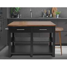 Hilton 3 Piece Black Kitchen Island Set (Kitchen Island & 2 Counter Stools)