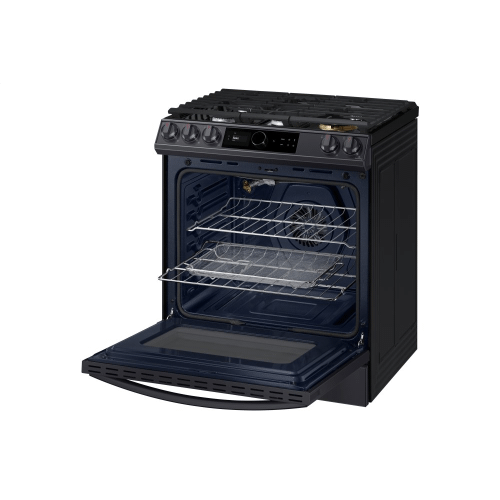 6.0 cu.ft. Gas Range with 22K double burner and Air Fry in Black Stainless Steel.