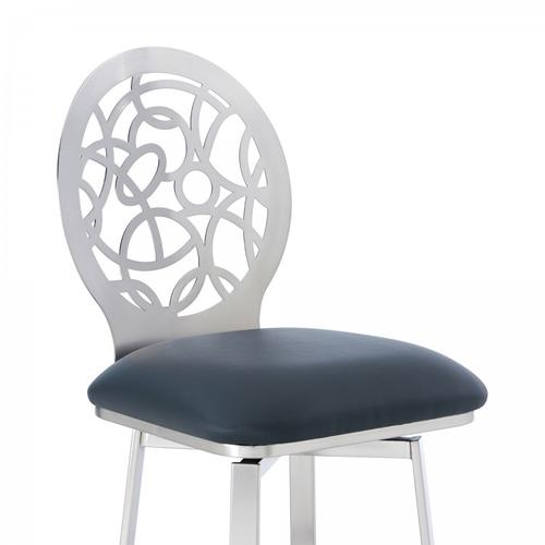 "Lotus Contemporary 30"" Bar Height Barstool in Brushed Stainless Steel Finish and Grey Faux Leather"