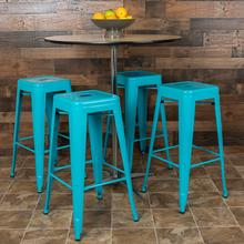 """Product Image - 30"""" High Metal Indoor Bar Stool in Teal - Stackable Set of 4"""