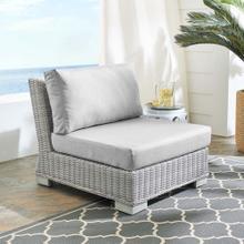 Conway Sunbrella® Outdoor Patio Wicker Rattan Armless Chair in Light Gray Gray