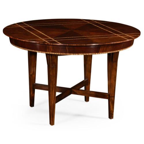 Craftsman's mahogany round table with herringbone inlay detail