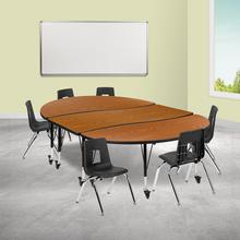 """Mobile 86"""" Oval Wave Collaborative Laminate Activity Table Set with 14"""" Student Stack Chairs, Oak\/Black"""