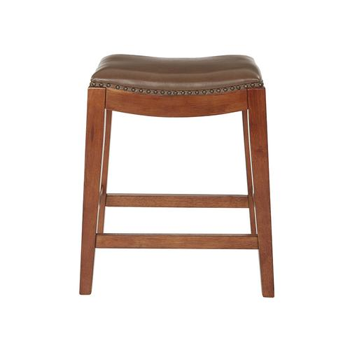 """Metro 24"""" Saddle Stool With Nail Head Accents and Espresso Finish Legs With Molasses Bonded Leather"""