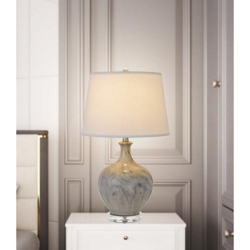 150W 3 Way Harlingen Ceramic Table Lamp With Taper Drum Linen Hardback Shade