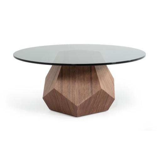 Modrest Rackham Modern Walnut & Smoked Glass Coffee Table