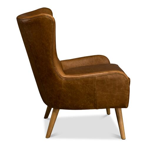 Mckinley Wing Chair, Columbia Brown Lthr