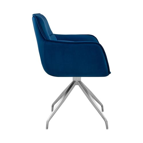 Armen Living - Noah Dining Room Accent Chair in Blue Velvet and Brushed Stainless Steel Finish