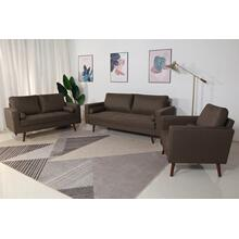 8115 3PC BROWN Linen Stationary Living Room SET