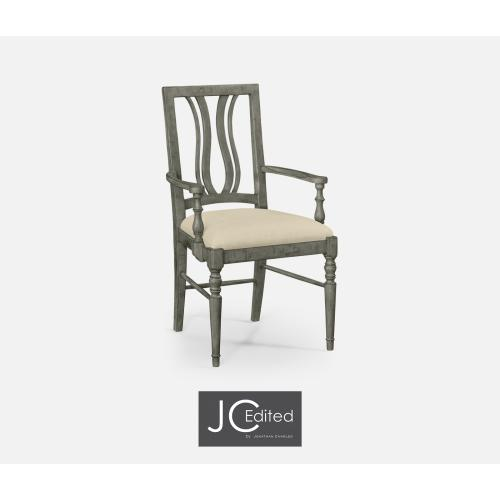 Antique Dark Grey Curved Back Armchair, Upholstered Seat in MAZO