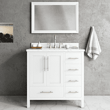 White MALIBU 36-in Single-Basin Vanity with Crema Stone Top