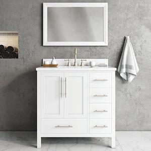 White MALIBU 36-in Single-Basin Vanity with Carrara Stone Top Product Image