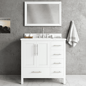 White MALIBU 36-in Single-Basin Vanity with Carrara Stone Top Product Image