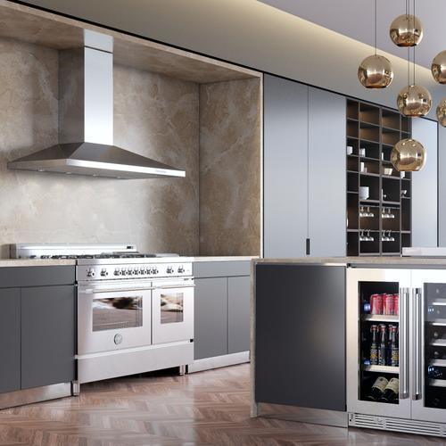 "XO Appliance - 48"" 1000 CFM Italian Made Wall Chimney Range Hood Stainless"