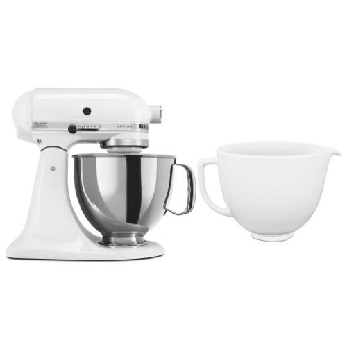 KitchenAid - Exclusive Artisan® Series Stand Mixer & Ceramic Bowl Set - White