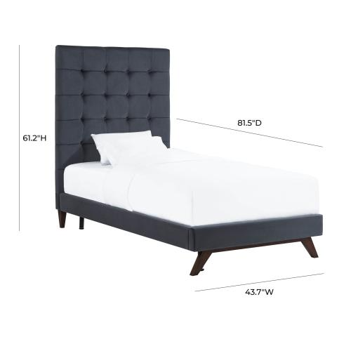 Tov Furniture - Eden Grey Velvet Bed in Twin