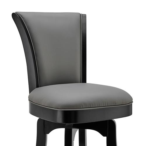 """Armen Living - Raleigh 30"""" Bar Height Swivel Barstool in Black Finish and Gray Faux Leather"""