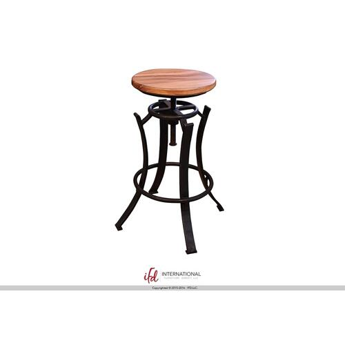 "24-30"" Adjustable Swivel Stool, Parota wooden seat, Iron base Black"