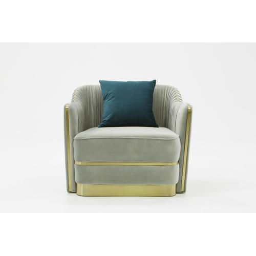 Divani Casa Ardine Modern Grey Velvet & Gold Lounge Chair