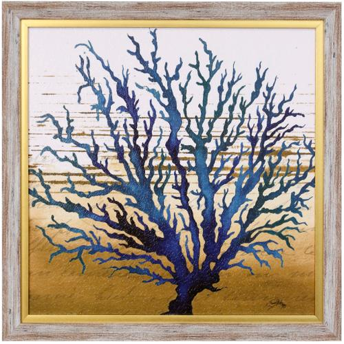 Style Craft - COASTAL BLUE II  23in w X 23in ht  Textured Framed Print  Made in USA